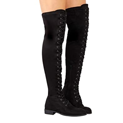 d85ab730f72 T-JULY Woman Suede Long Boots Winter Thigh High Sexy Lace Up Over Knee Boots