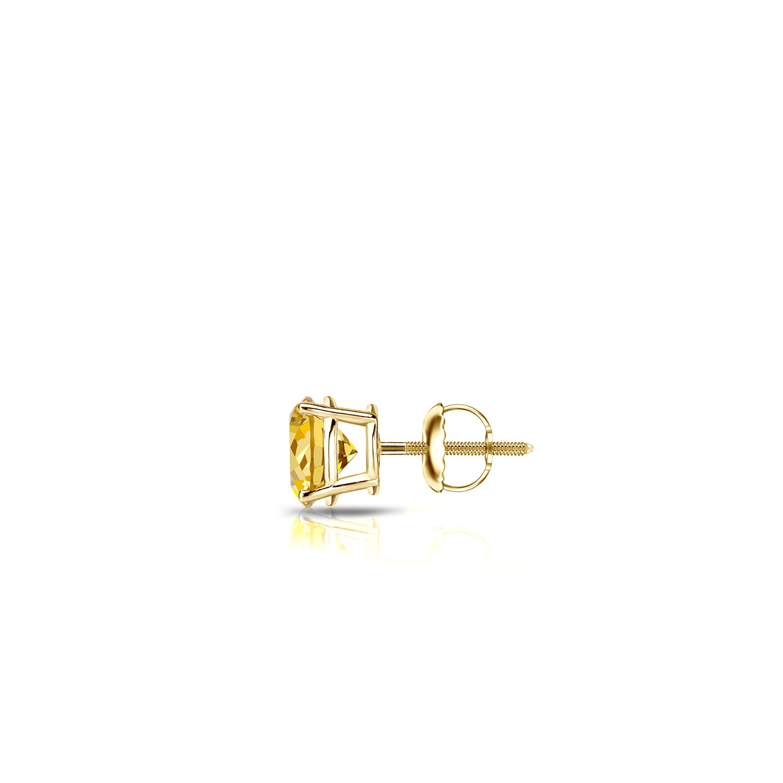 1//8-1ct,Yellow,I1-I2 14k Gold 4-Prong Basket Round Yellow Diamond Men SINGLE STUD Earring Screw-Back