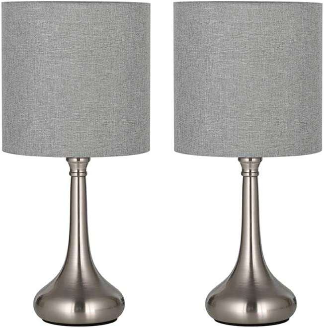 HAITRAL Modern Table Lamps - Small Nightstand Lamps Set of 2, Bedside Desk Lamps for Bedroom, Office, Living Room, Silver