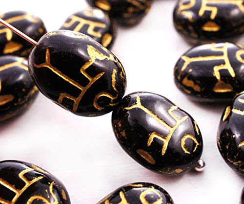 10pcs Jet Black Scarab Czech Glass Insect Beads Bug Beetle 14mm x 10mm - Glass Bird Beads