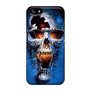 lintao diy Flexible Tpu Back Case Cover For Iphone 5/5s - Skull In Blue