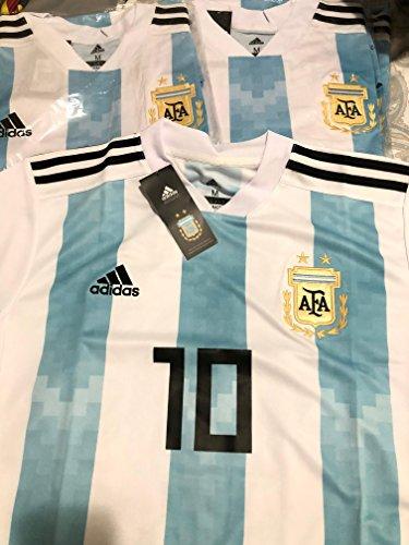 Messi 10 Argentina National soccer team home jersey men's 2018 color white/blue Size M