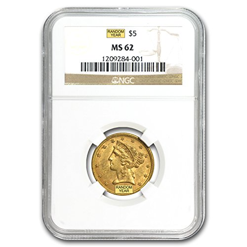 1839 – 1908 $5 Liberty Gold Half Eagle MS-62 NGC G$5 MS-62 NGC