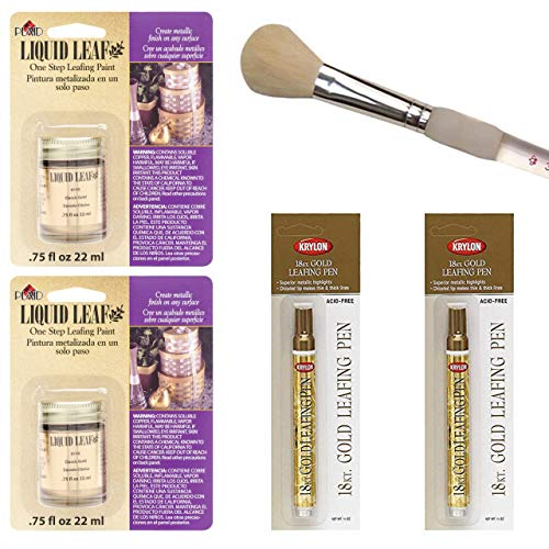 Plaid Gold Liquid Leaf 3/4 Ounce, Krylon 18kt Leafing Pen and Brush ()