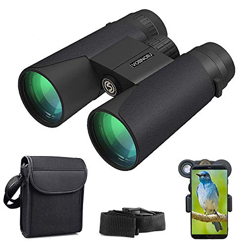 Binoculars for Adults Compact,12x42 Ultra HD Roof Prism Waterproof Binocular with Phone Adapter,Explore Nature, Folding Spotting Telescope Bird Watching, Camping Hunting,Outdoor Sports