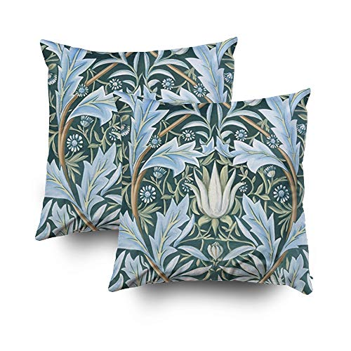 TOMWISH 2 Packs Hidden Zippered Pillowcase Halloween William Morris fine Floral Wallpaper Pattern 18X18Inch,Decorative Throw Custom Cotton Pillow Case Cushion Cover for Home
