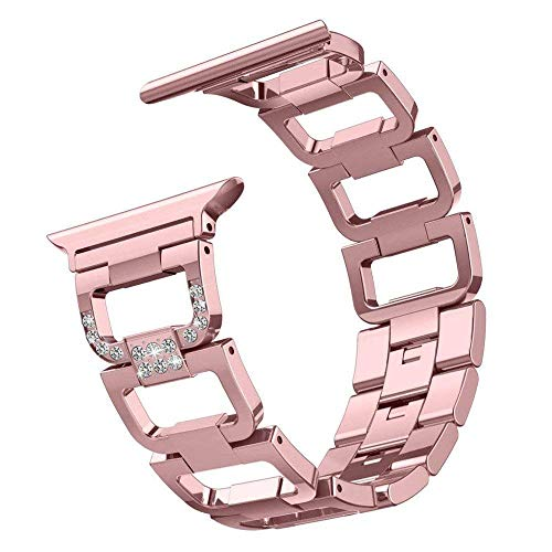 Aokon Compatible Apple Watch Band 38mm for Women, Bling Bands Stainless Steel Metal Replacement Wristband Sport Strap for Apple Watch Nike+, Series 3, Series 2, Series 1, Sport, Edition, Rose Gold by AOKON