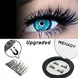[Upgraded] WEHADY False Magnetic Eyelashes 3D Reusable Fake Eyelashes , Ultra Thin, Natural Look , Reusable Perfect, 1Pairs 4 Pieces