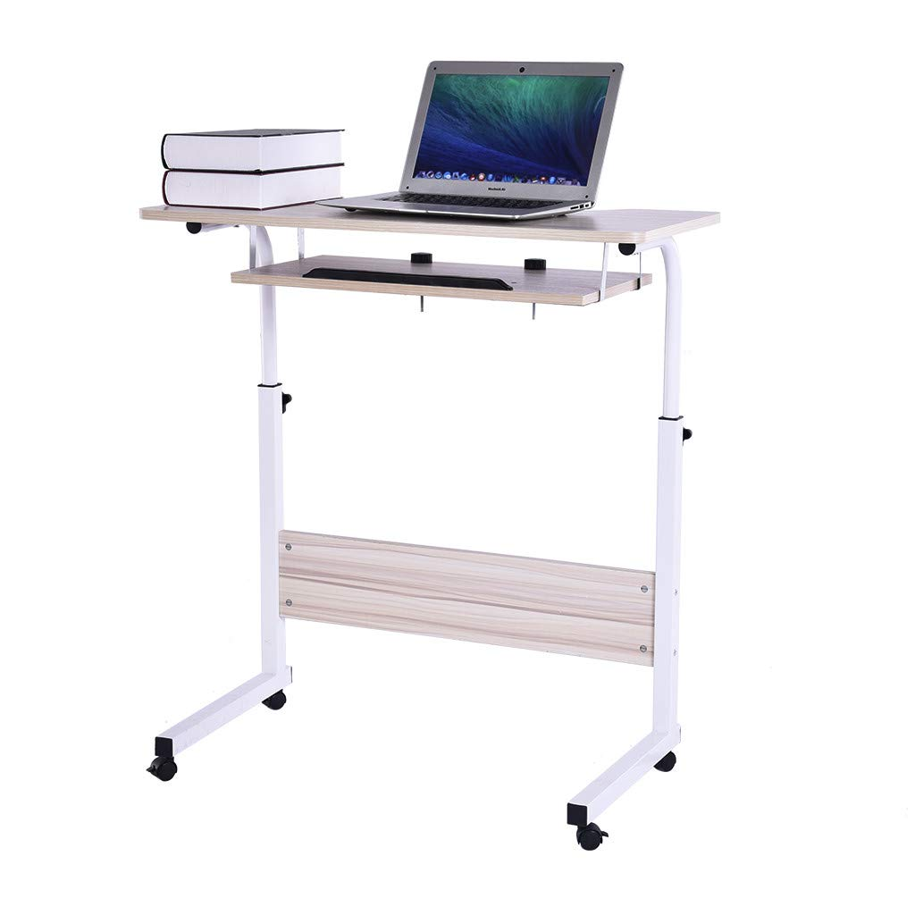 Heberry Home Office Desks Lifting Desk Desktop Computer Writing Laptop Study Table Ajustable Raised and Lowered Mobile Computer Desk for Work Bedroom Household (White, 80x40x70-90CM)