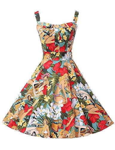 Grace-Karin-Womens-Floral-1950s-Vintage-Retro-Cocktail-Party-Dresses