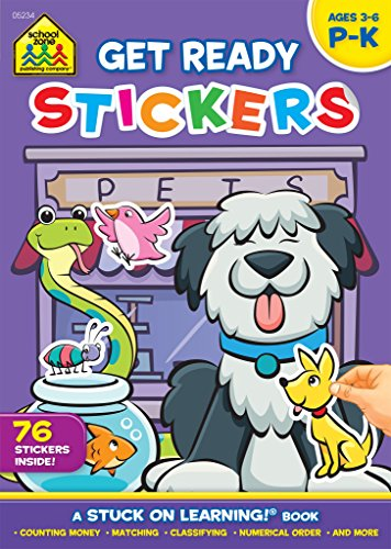 School Zone - Get Ready Sticker Workbook - Ages 3 to 6, Preschool to Kindergarten, Stickers, Counting Money, Numerical Order, Matching, and More (School Zone Stuck on Learning® Book Series) (Counting Stickers)