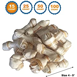 "123 Treats - Rawhide Bones with Pork wrapped 4-5"" (15 Count) inches Delicious twister Bone chews"