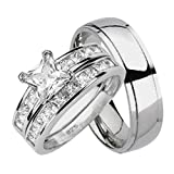 His and Hers Wedding Rings Set Sterling Silver Titanium Matching Bands for Him and Her