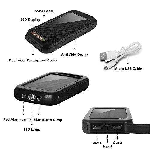 Xnuoyo 10000mAh Solar Charger Waterproof Dual USB Solar