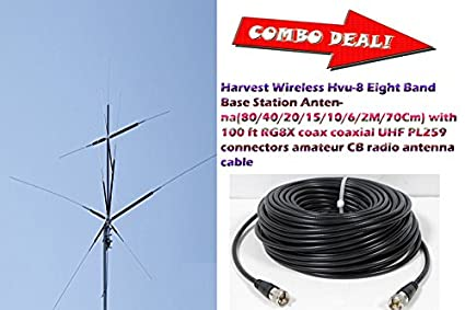 Harvest HVU-8 Eight Band (80/40/20/15/10/6/2M/70cm) Antenna with 100 Ft Coax