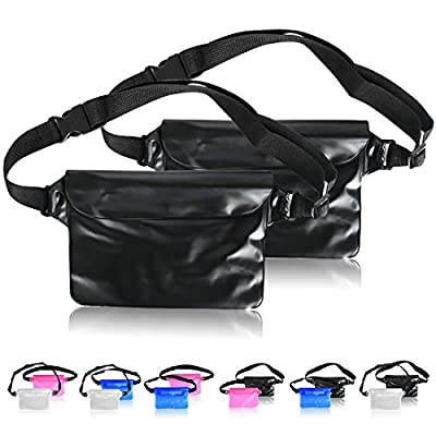 ABNER (2pack) Universal Waterproof Bags Dry Bag Durable Pouch Case Adjustable Waist Belt Large Capacity Phone Money Holder For Swim,Fishing,Snorkeling,4 colors