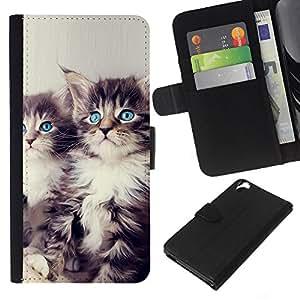 Stuss Case / Funda Carcasa PU de Cuero - Los gatitos de ojos azules - HTC Desire 820
