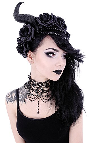 - Restyle Victorian Gothic Burlesque black Beaded Chandelier Choker Necklace