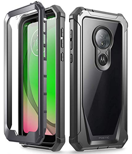Moto G7 Play Rugged Clear Case, Moto G7 Optimo Case, Poetic Full Body Hybrid Shockproof Bumper Cover, Built-in Screen Protector, Guardian Series, DO NOT FIT Moto G7 Or Moto G7 Power, Black/Clear