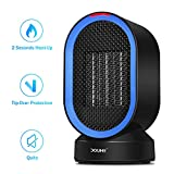 is equipped with an advanced - Portable Space Heater, DOUHE Electric COMPACT PERSONAL Heater, 600 Watts of Heat, Swing Mode, Tip-Over and Overheat Protection, Safety for Office Home Floor Under Desk
