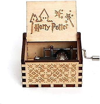 N/X Caja de música Manivela Caja Musical Caja de Madera Tallada ...