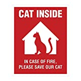 Cat Inside Sticker - 4 Pack - 4x5 inches - Cat Alert Safety Window Sign