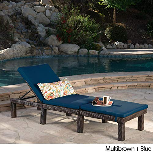 - Christopher Knight Home Jamaica Outdoor Chaise Lounge with Cushion by Lounge + Blue Cushion