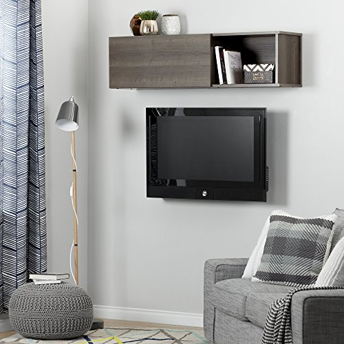South Shore City Life Wall Mounted Storage Unit, Gray Maple Contemporary Maple Entertainment Center