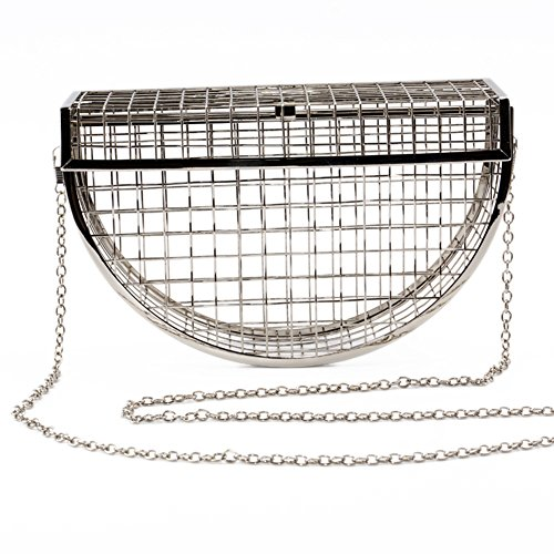 Cage Crossbody Bags Metal Evening Women's Unique Chain Bag Clutch Silver Bags 8EqggxwSF