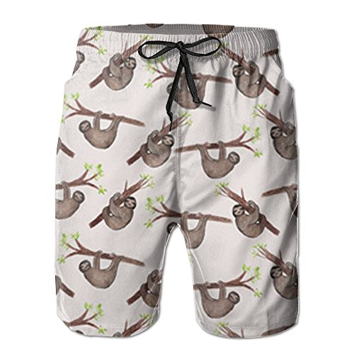 Wholesale ETRBSF Watercolor Sloth Pattern Designer Beach Board Shorts Novelty Outdoor Sport Mens Guys free shipping