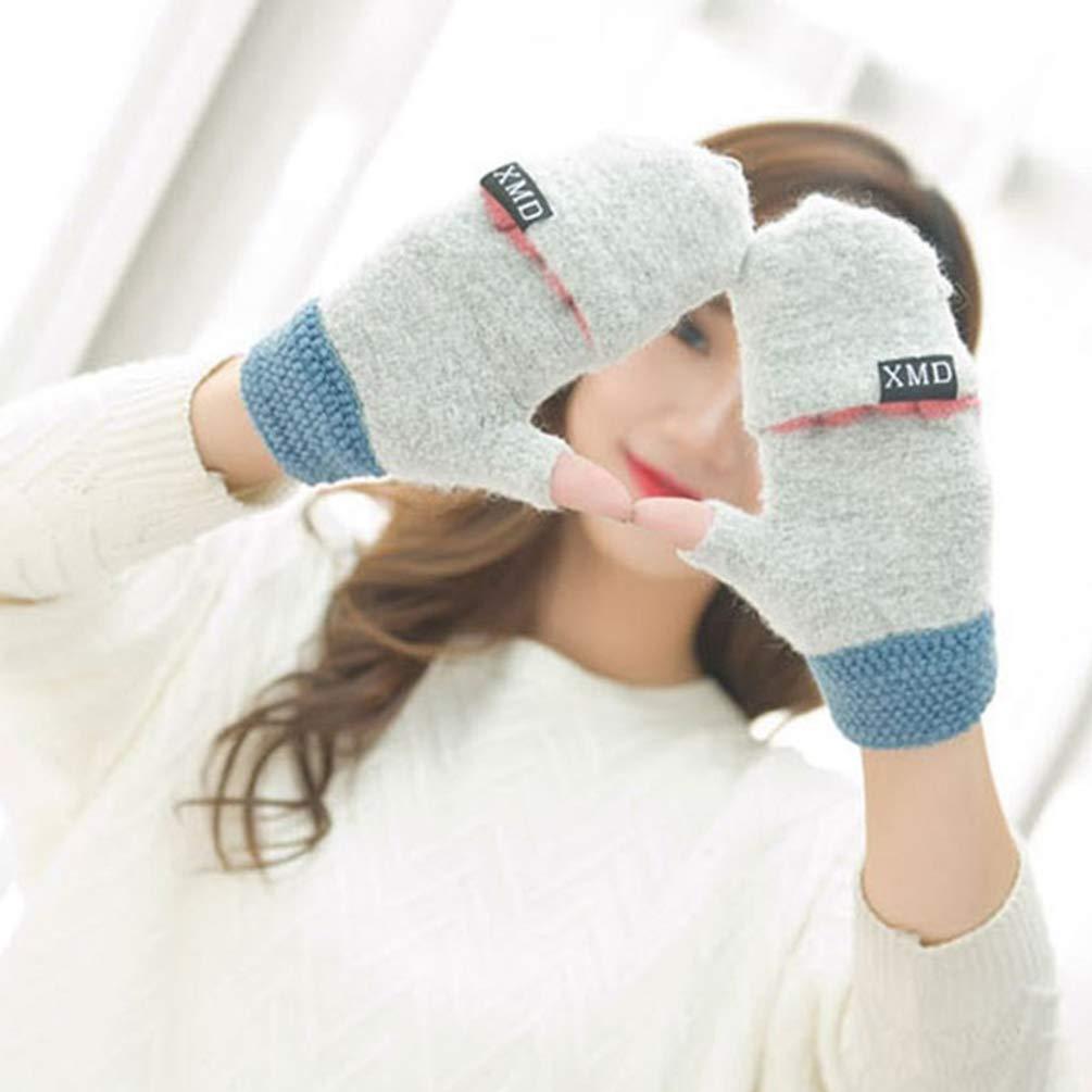 Damen Winter Handschuhe Fingerlos F/äustlinge mit Flip Top Wolle Gestrickt Halb Finger Handschuhe Frauen