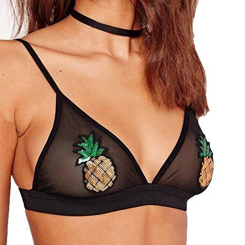 Pineapple Costumes Adults (LLNONG - Women Pineapple Bralette Bustier Crop Top (M, Black))