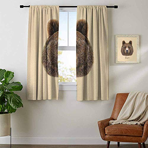 (youpinnong Bear, Curtains Bedroom, Big Bear of North America and Eurasia Realistic Strong Wildlife Beast Zoo Animal, Curtains for Party Decoration, W96 x L72 Inch Brown Sand Brown)