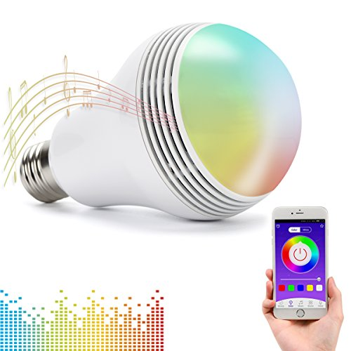 Huamai Bluetooth Speaker Bulb, 2nd Generation LED Light Bulb with Bluetooth Speaker, 8W E26 Dimmable RGB+White Color Smart Music LED Bulb Light