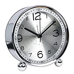FenglinTech Alarm Clock, Desktop Silent Non Ticking Quality Battery Operated Alarm Clock Simple Style Metal Dial Clock - (Silver)