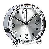 FenglinTech Alarm Clock, Desktop Silent Non Ticking Quality Battery Operated Alarm Clock Simple Style Metal Dial Clock - (Silver)