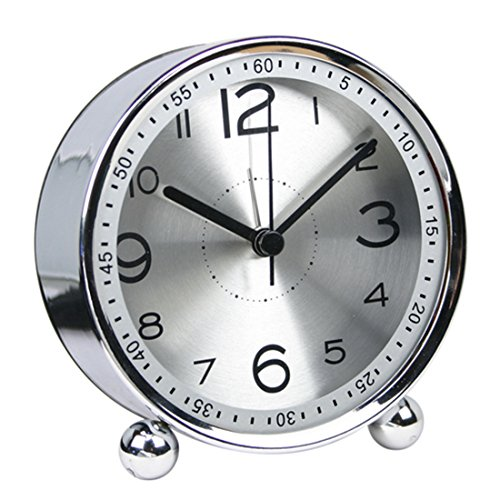 Alarm Clock, Hmane Desktop Silent Non Ticking Quality Battery Operated Alarm Clock Simple Style Metal Dial Clock - (Silver)