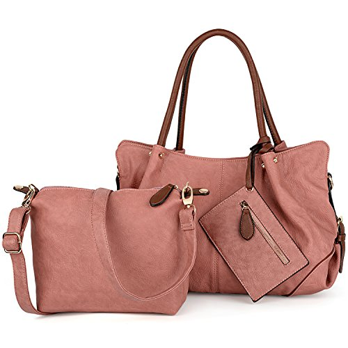 Body Leather Pieces Bags UTO Satchel Wallet PU Women Pink Fashion Bargain Cross Set Large Big 3 Tote Shoulder Handbag Bag gPZPY