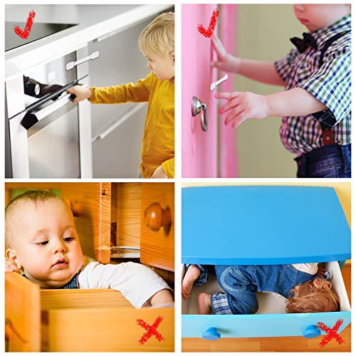 Baby Proofing Cabinet Strap Locks - Vkania 20 Pcs Kids Proof Kit - Child Safety Drawer Cupboard Oven Refrigerator Adhesive Locks - Adjustable Toilets Seat Fridge Latches - No Drilling