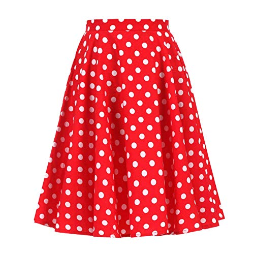 Women's 50s Vintage Inspiration Polka Dot Floral Rockabilly Full Swing Skirt (XL (US10/UK14/EU42), Red + White Dots)]()