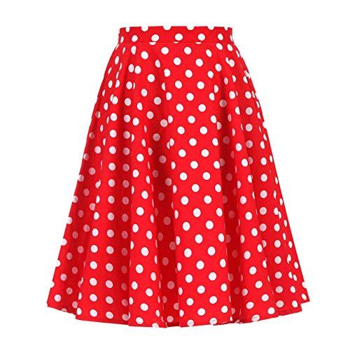 Women's 50s Vintage Inspiration Polka Dot Floral Rockabilly Full Swing Skirt (XL (US10/UK14/EU42), Red + White Dots) -