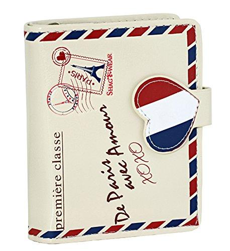 Shagwear Literature Themed Small Zipper Bi-Fold Wallet (Paris Love Letter-Cream)