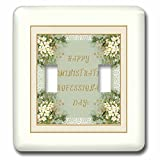 3dRose Beverly Turner Administrative Professionals Day - Administrative Professional Day, White Flower Corners, Gold Lace Frame - Light Switch Covers - double toggle switch (lsp_282120_2)