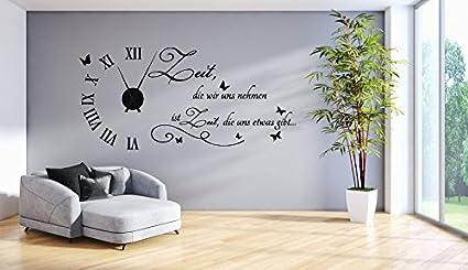 tjapalo® s-tku1-s Wanduhr Wandtattoo Uhr spruch Wohnzimmer Wandsticker  Wandaufkleber Spruch - Zeit die wir uns nehmen - mit und ohne schwarzem  Metall ...