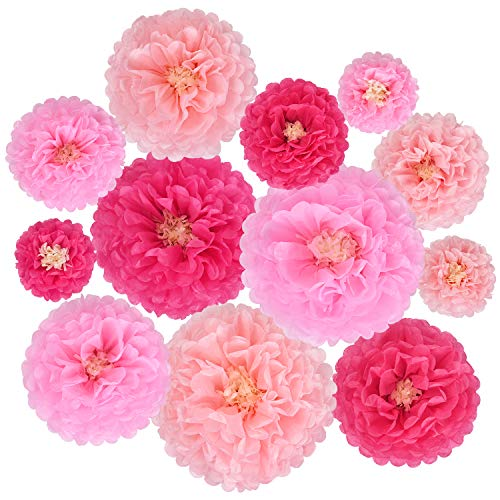 Sunm boutique 12 Pcs Tissue Paper Chrysanthemum Flowers, Paper Flower for DIY Craft Birthday Party Baby Shower Bridal Shower Wedding Wall Home Decor ()