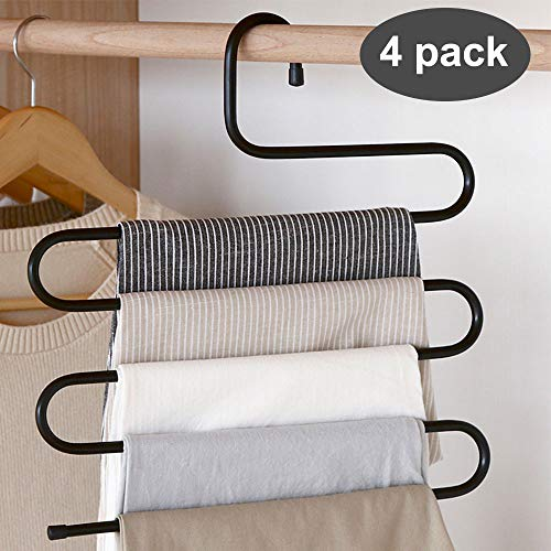 devesanter Pants Hanger Multi-Layer S-Style Jeans Trouser Hanger Closet Stainless Steel Rack Space Saver for Tie Scarf Jeans Clothes(4 Pack )