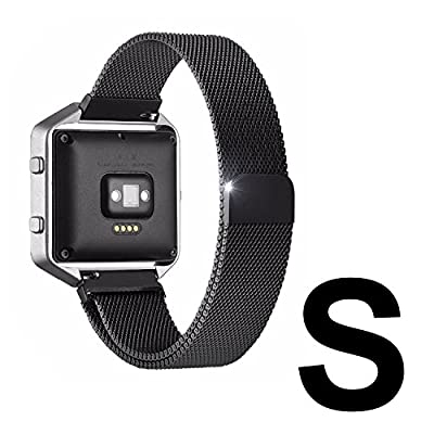Fitbit Blaze Accessories Band Small, UMTele Plexus Milanese Loop Stainless Steel Mesh Bracelet Replacement Band Strap with Unique Magnet Lock for Fitbit Blaze Smart Fitness Watch Black (5.1''-7.9'')