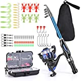 Leo Light Weight Kids Fishing Pole Telescopic Fishing Rod and Reel Combos with Full Kits Lure Case and Carry Bag for Youth Fishing and Beginner 130CM