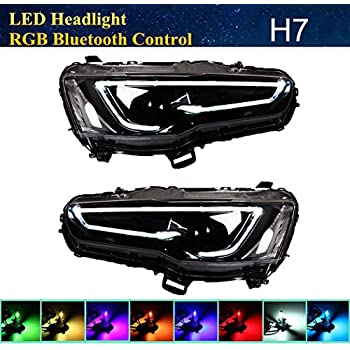Vland RGB LED Demon eye Headlights For MITSUBISHI LANCER / EVO X 2008-2017 DUAL BEAM Audi Style Full Black Housing with H7 2in1 LED Headlight Bulbs + RGB ...