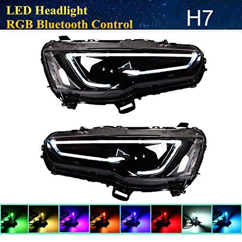 Vland RGB LED Demon eye Headlights For MITSUBISHI LANCER / EVO X 2008-2017 DUAL BEAM Audi Style Full Black Housing with H7 2in1 LED Headlight Bulbs + RGB Demon Eye Bluetooth Control